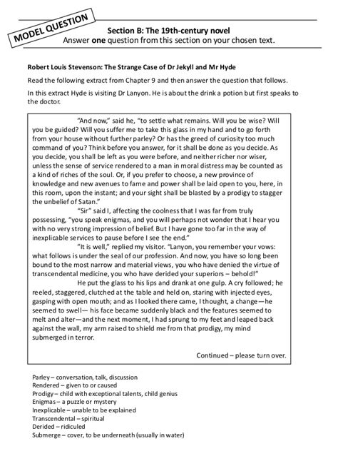 Essay Questions Dr Jekyll And Mr Hyde - Dr