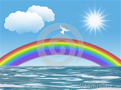 White Dove Flying To Sun With Olive Leaf Rainbow Clouds